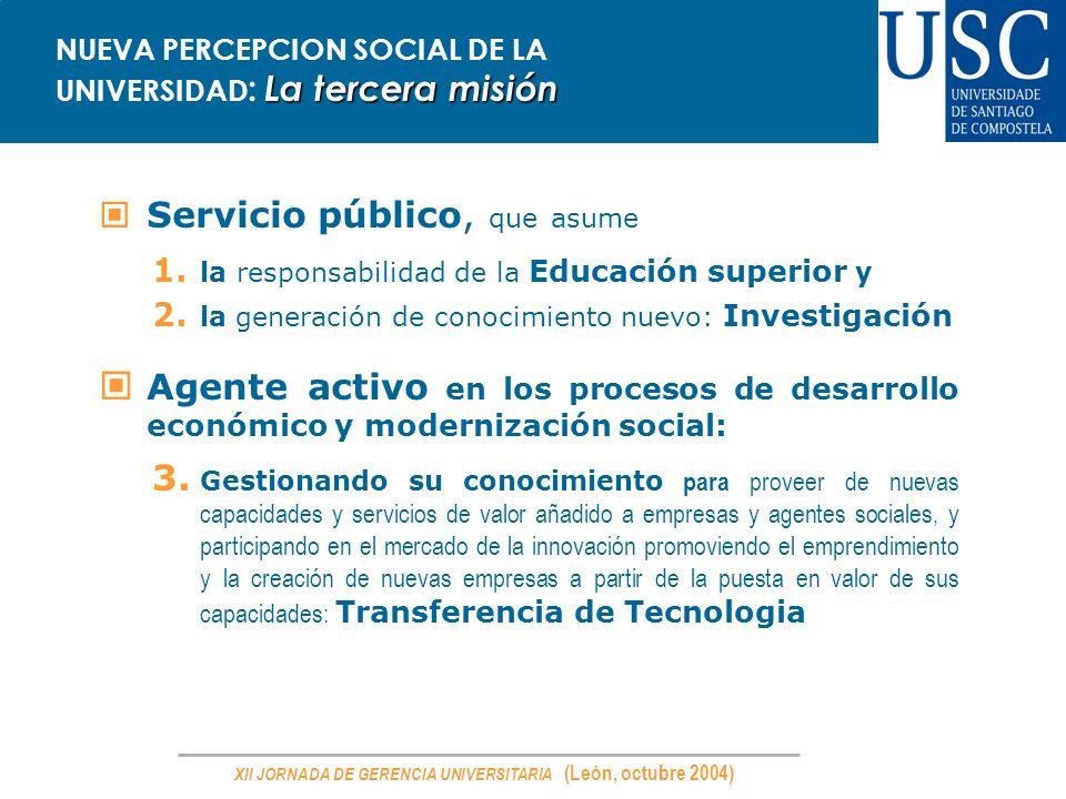 XII JORNADA DE GERENCIA UNIVERSITARIA (León, octubre 2004) La tercera misión NUEVA PERCEPCION SOCIAL DE LA UNIVERSIDAD : La tercera misión Servicio pú