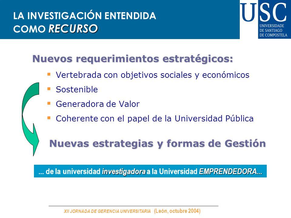 XII JORNADA DE GERENCIA UNIVERSITARIA (León, octubre 2004) RECURSO LA INVESTIGACIÓN ENTENDIDA COMO RECURSO Nuevos requerimientos estratégicos: Vertebr