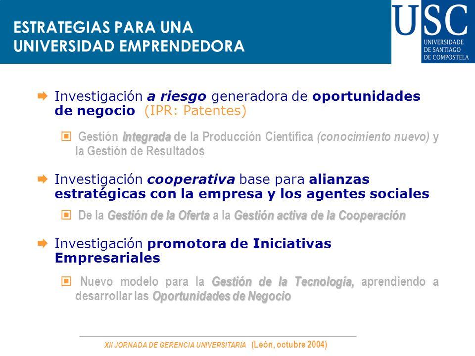 XII JORNADA DE GERENCIA UNIVERSITARIA (León, octubre 2004) ESTRATEGIAS PARA UNA UNIVERSIDAD EMPRENDEDORA Investigación a riesgo generadora de oportuni