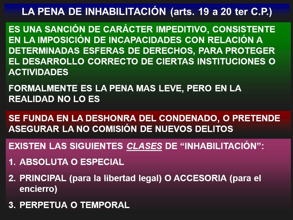 LA PENA DE INHABILITACIÓN (arts. 19 a 20 ter C.P.) ES UNA SANCIÓN DE CARÁCTER IMPEDITIVO, CONSISTENTE EN LA IMPOSICIÓN DE INCAPACIDADES CON RELACIÓN A