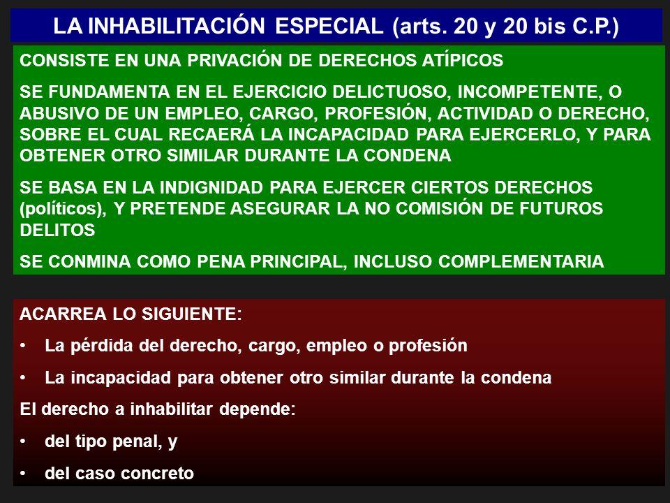LA INHABILITACIÓN ESPECIAL (arts. 20 y 20 bis C.P.) CONSISTE EN UNA PRIVACIÓN DE DERECHOS ATÍPICOS SE FUNDAMENTA EN EL EJERCICIO DELICTUOSO, INCOMPETE