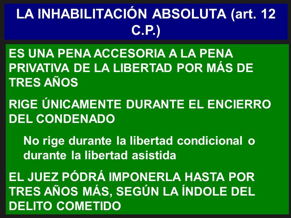 LA INHABILITACIÓN ABSOLUTA (art. 12 C.P.) ES UNA PENA ACCESORIA A LA PENA PRIVATIVA DE LA LIBERTAD POR MÁS DE TRES AÑOS RIGE ÚNICAMENTE DURANTE EL ENC