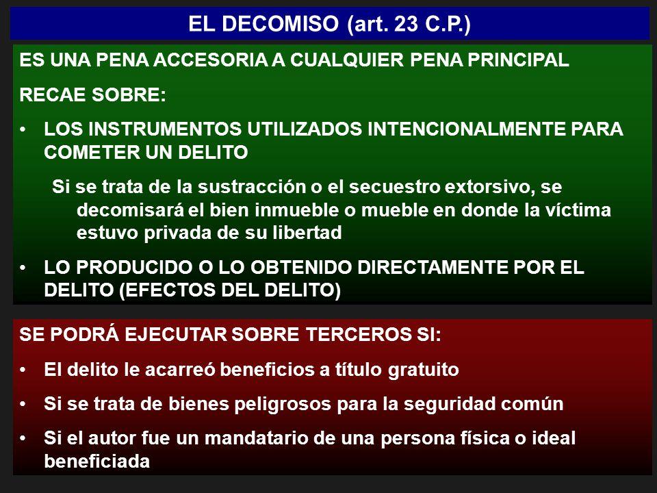 EL DECOMISO (art. 23 C.P.) ES UNA PENA ACCESORIA A CUALQUIER PENA PRINCIPAL RECAE SOBRE: LOS INSTRUMENTOS UTILIZADOS INTENCIONALMENTE PARA COMETER UN
