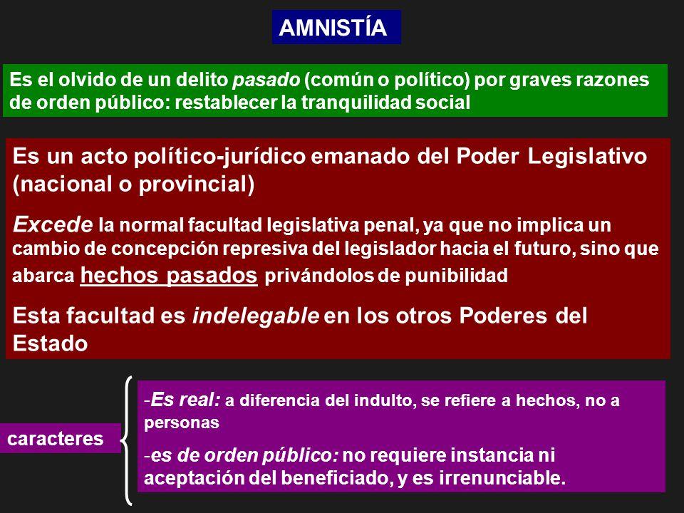 AMNISTÍA Es el olvido de un delito pasado (común o político) por graves razones de orden público: restablecer la tranquilidad social Es un acto políti