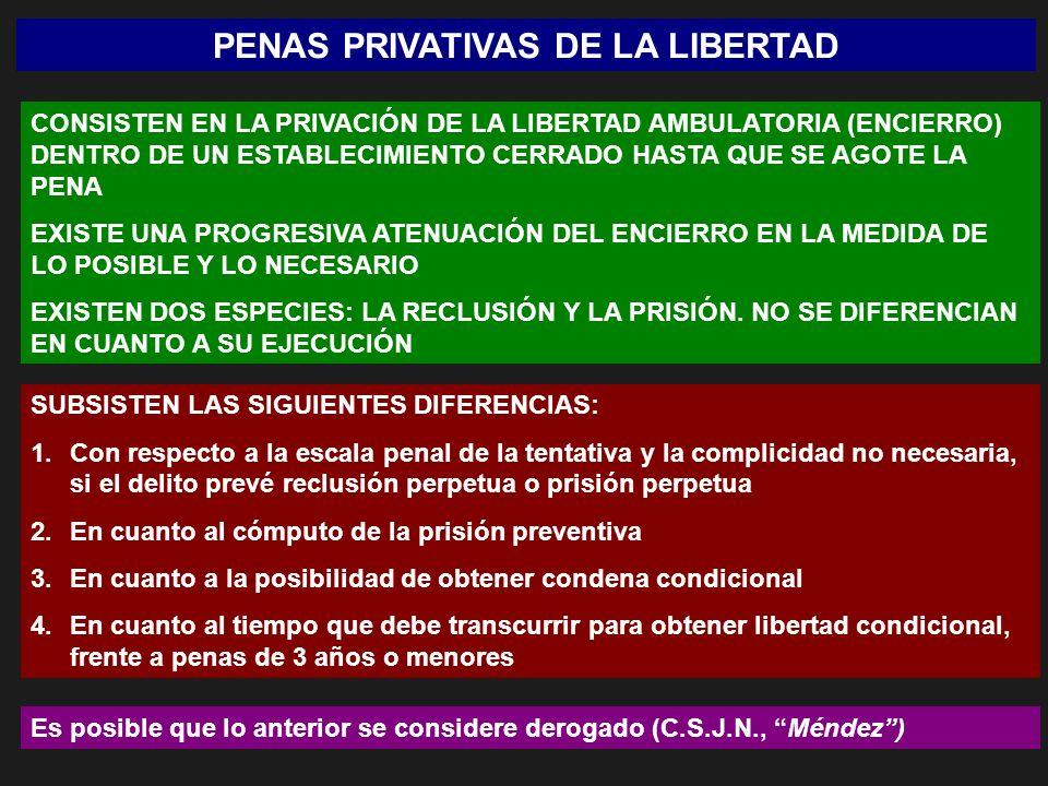 PENAS PRIVATIVAS DE LA LIBERTAD CONSISTEN EN LA PRIVACIÓN DE LA LIBERTAD AMBULATORIA (ENCIERRO) DENTRO DE UN ESTABLECIMIENTO CERRADO HASTA QUE SE AGOT