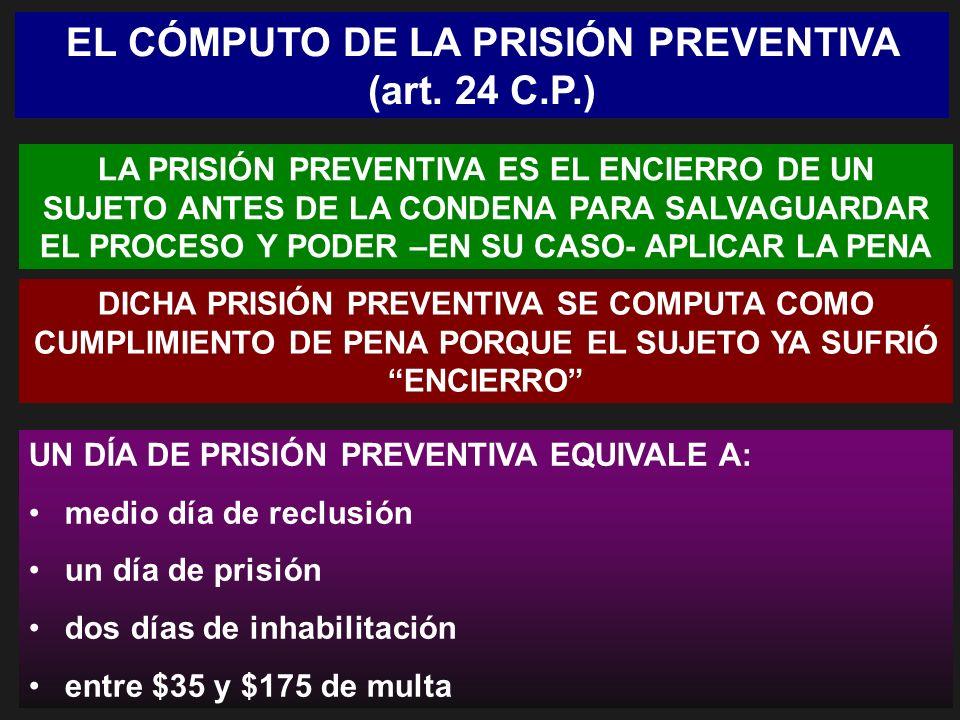 EL CÓMPUTO DE LA PRISIÓN PREVENTIVA (art. 24 C.P.) LA PRISIÓN PREVENTIVA ES EL ENCIERRO DE UN SUJETO ANTES DE LA CONDENA PARA SALVAGUARDAR EL PROCESO