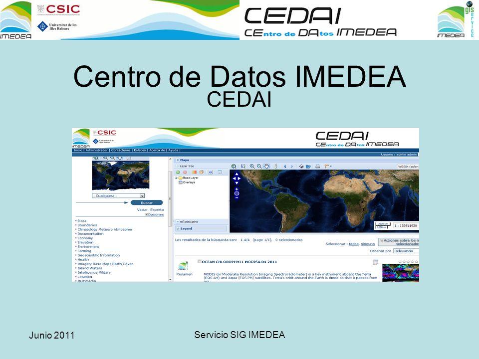 Junio 2011 Servicio SIG IMEDEA 1.La gestión corporativa de los datos geográficos y científicos.