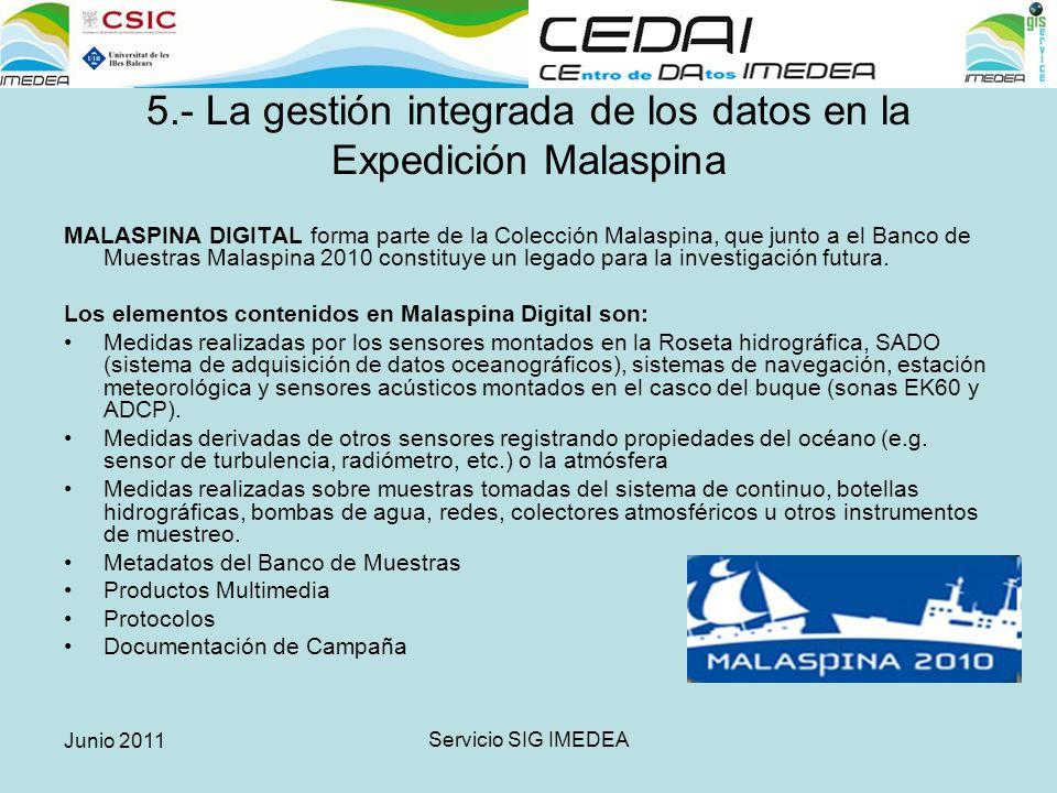 Junio 2011 Servicio SIG IMEDEA 5.- La gestión integrada de los datos en la Expedición Malaspina MALASPINA DIGITAL forma parte de la Colección Malaspina, que junto a el Banco de Muestras Malaspina 2010 constituye un legado para la investigación futura.