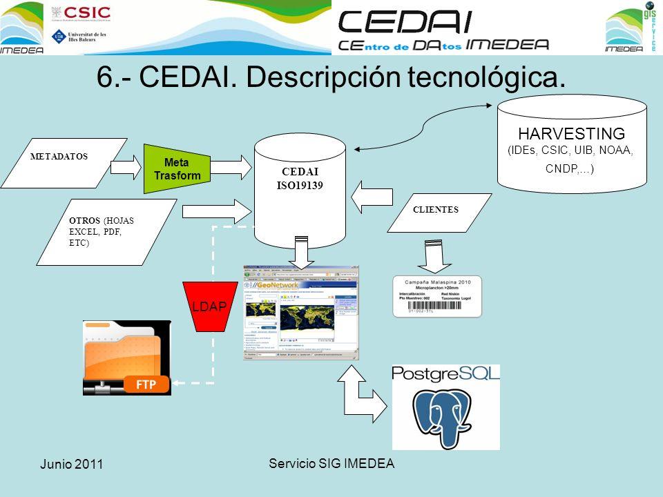 Junio 2011 Servicio SIG IMEDEA 6.- CEDAI. Descripción tecnológica.
