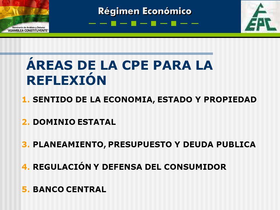 Régimen Económico 1. SENTIDO DE LA ECONOMIA, ESTADO Y PROPIEDAD 2. DOMINIO ESTATAL 3. PLANEAMIENTO, PRESUPUESTO Y DEUDA PUBLICA 4. REGULACIÓN Y DEFENS