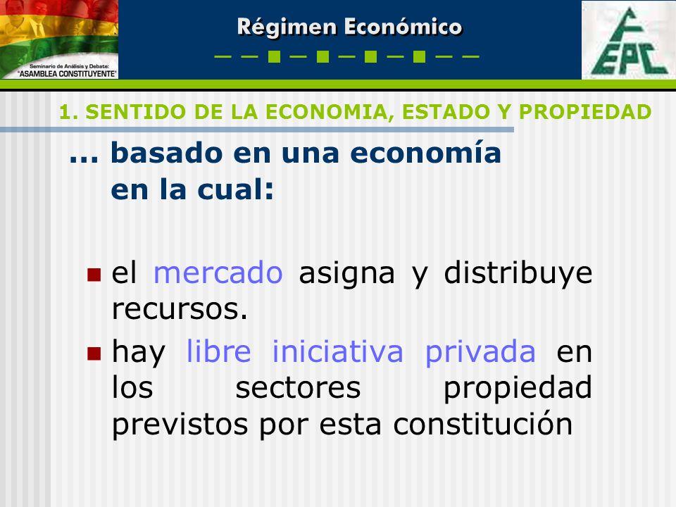 Régimen Económico … basado en una economía en la cual : el mercado asigna y distribuye recursos. hay libre iniciativa privada en los sectores propieda