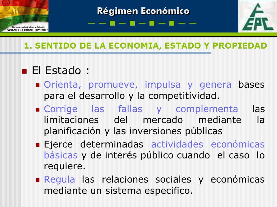 Régimen Económico El Estado : Orienta, promueve, impulsa y genera bases para el desarrollo y la competitividad. Corrige las fallas y complementa las l