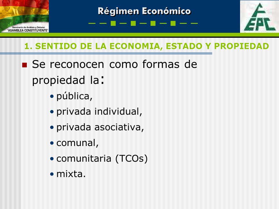 Régimen Económico Se reconocen como formas de propiedad la : pública, privada individual, privada asociativa, comunal, comunitaria (TCOs) mixta. 1. SE