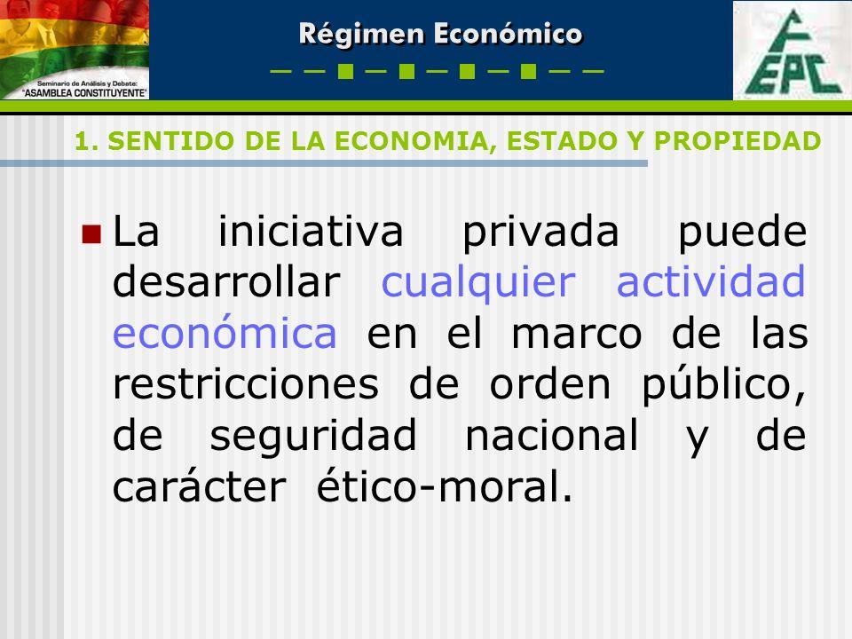 Régimen Económico La iniciativa privada puede desarrollar cualquier actividad económica en el marco de las restricciones de orden público, de segurida
