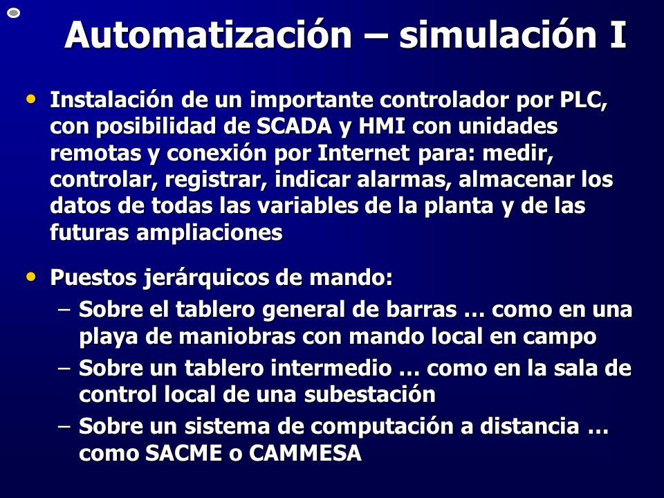 Automatización – simulación I Instalación de un importante controlador por PLC, con posibilidad de SCADA y HMI con unidades remotas y conexión por Int
