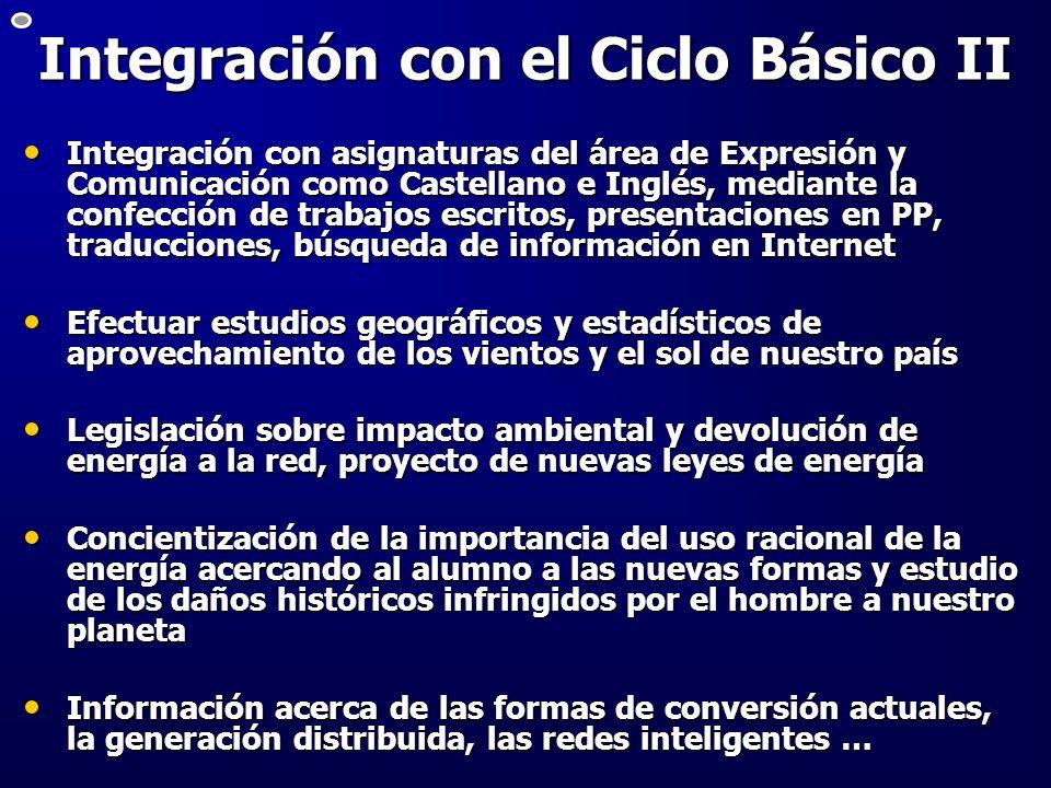Integración con el Ciclo Básico II Integración con asignaturas del área de Expresión y Comunicación como Castellano e Inglés, mediante la confección d