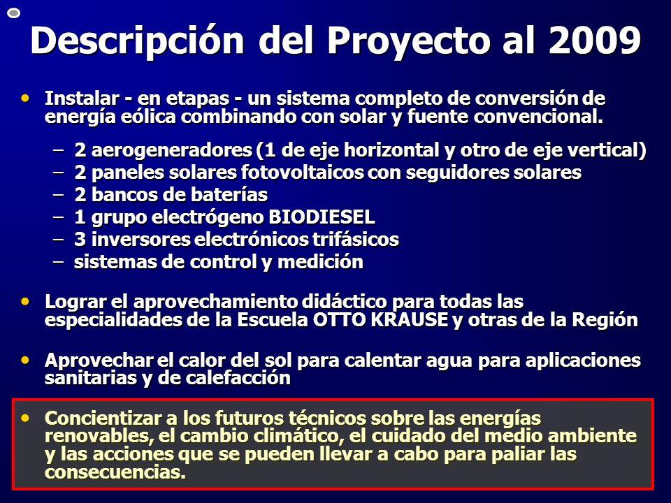 Descripción del Proyecto al 2009 Instalar - en etapas - un sistema completo de conversión de energía eólica combinando con solar y fuente convencional