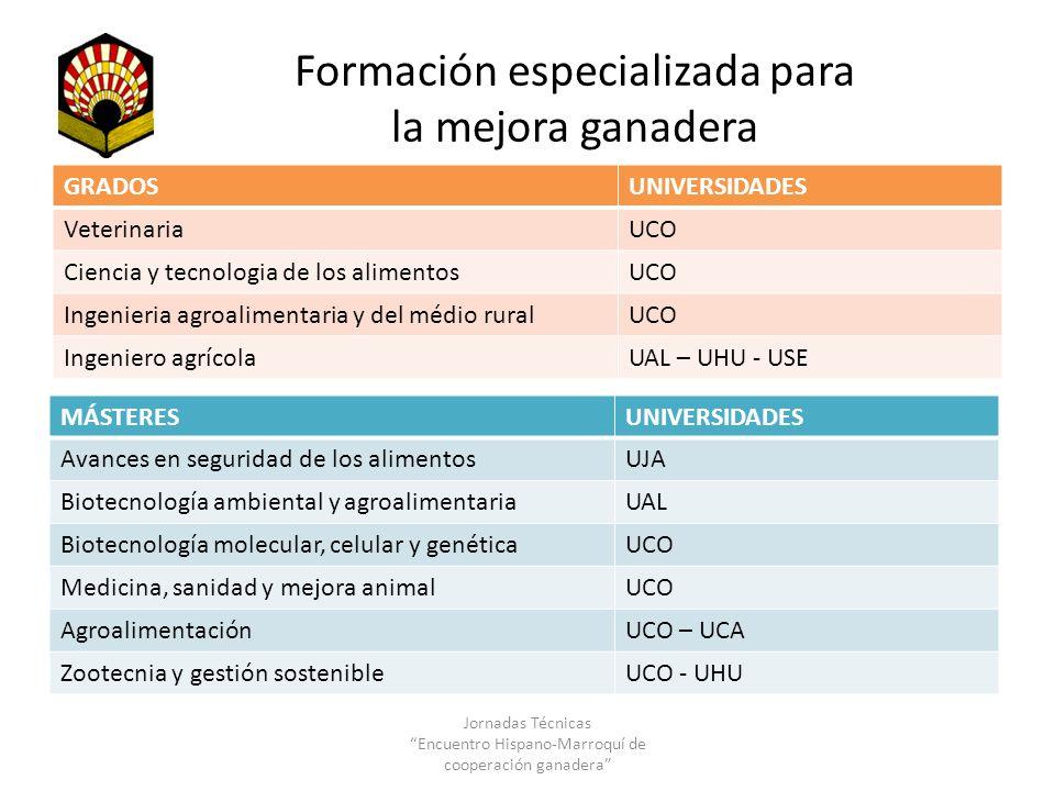 Formación especializada para la mejora ganadera GRADOSUNIVERSIDADES VeterinariaUCO Ciencia y tecnologia de los alimentosUCO Ingenieria agroalimentaria