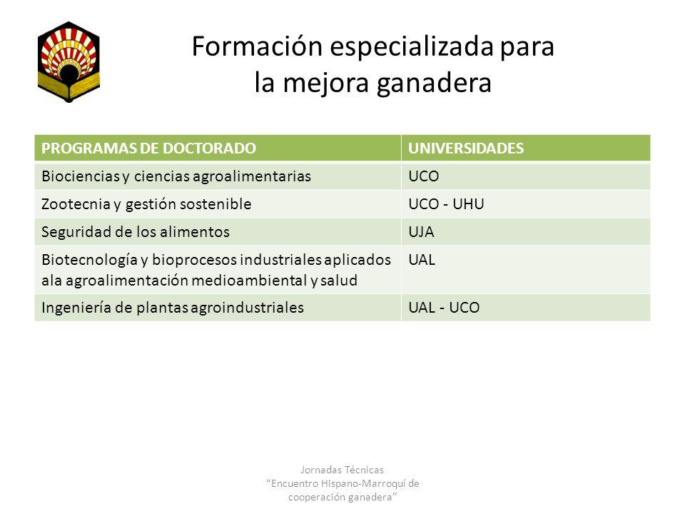 Formación especializada para la mejora ganadera PROGRAMAS DE DOCTORADOUNIVERSIDADES Biociencias y ciencias agroalimentariasUCO Zootecnia y gestión sos
