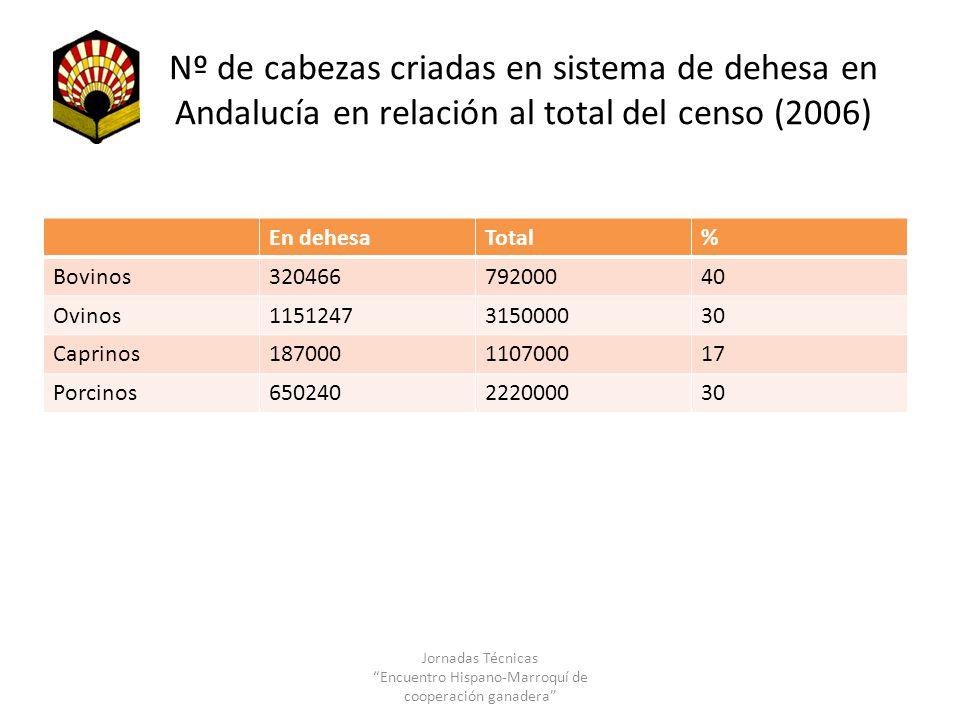 Nº de cabezas criadas en sistema de dehesa en Andalucía en relación al total del censo (2006) En dehesaTotal% Bovinos32046679200040 Ovinos115124731500