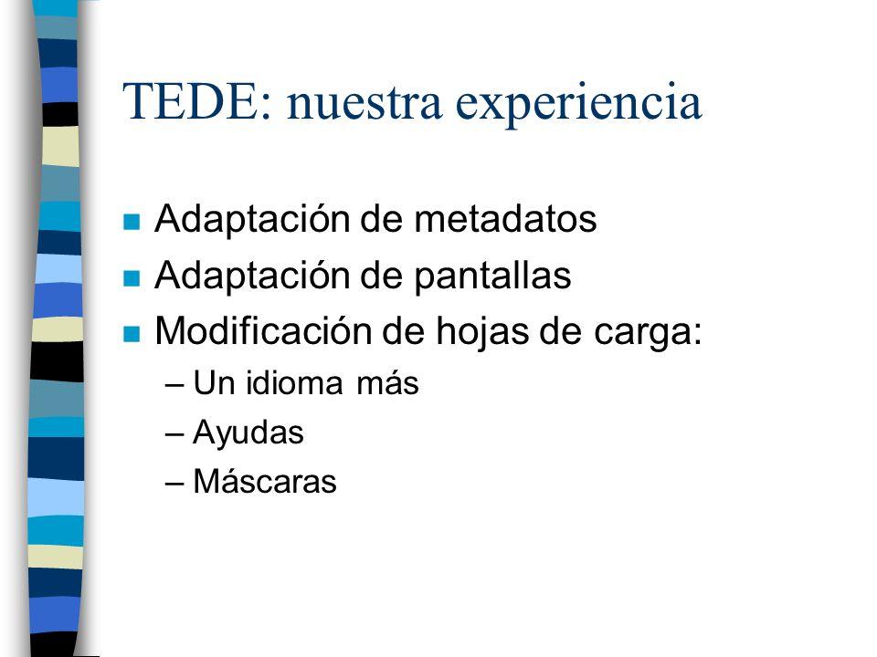 TEDE: nuestra experiencia n Adaptación de metadatos n Adaptación de pantallas n Modificación de hojas de carga: –Un idioma más –Ayudas –Máscaras