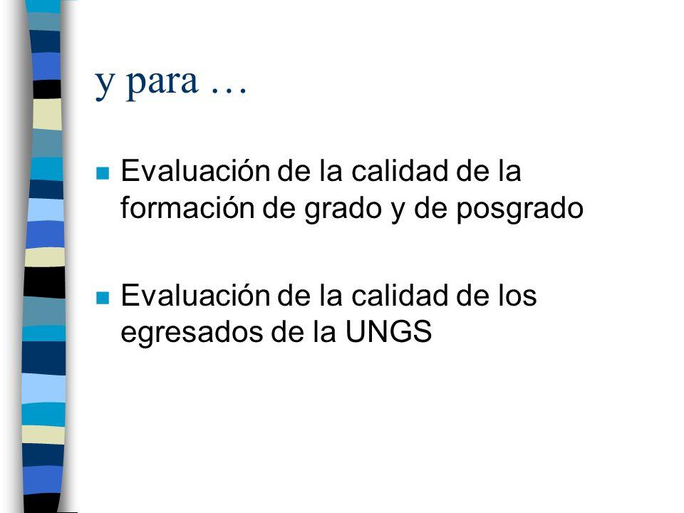 y para … n Evaluación de la calidad de la formación de grado y de posgrado n Evaluación de la calidad de los egresados de la UNGS