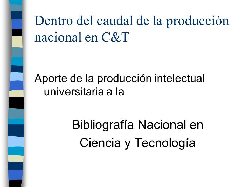 Dentro del caudal de la producción nacional en C&T Aporte de la producción intelectual universitaria a la Bibliografía Nacional en Ciencia y Tecnología