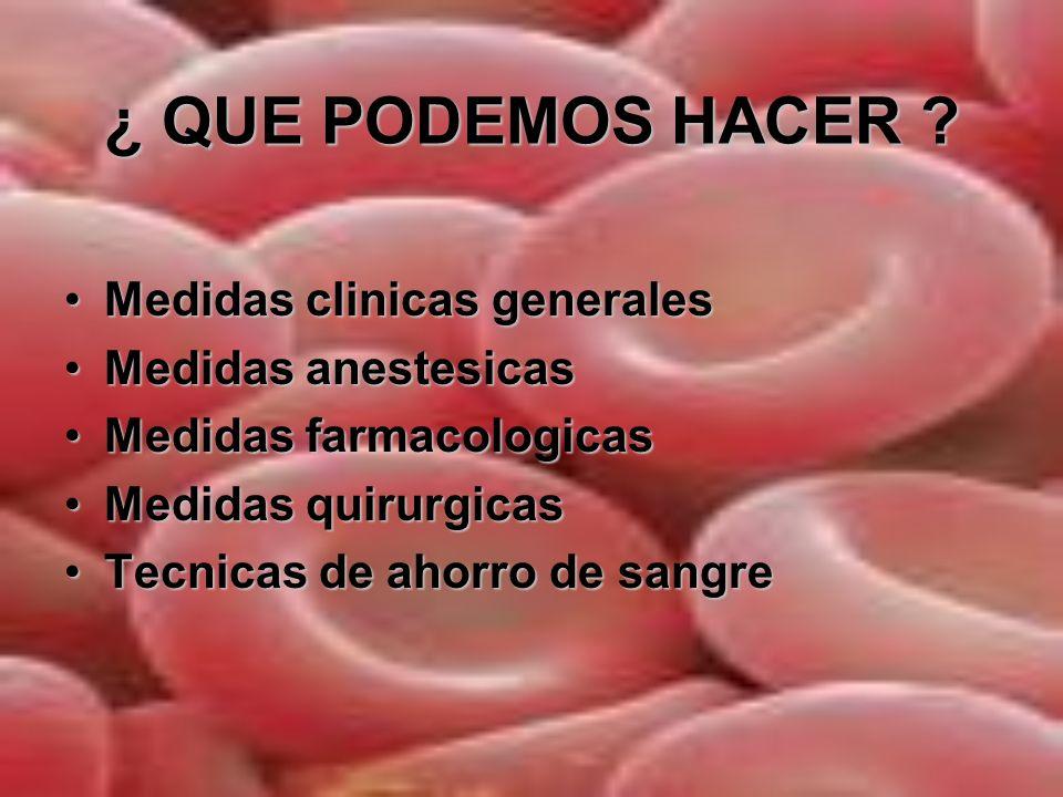 MEDIDAS CLINICAS GENERALES Trigger transfusional:Trigger transfusional: Raramente si Hb >10 mg/dlRaramente si Hb >10 mg/dl Casi siempre si es Hb < 6 mg/dlCasi siempre si es Hb < 6 mg/dl Hb: entre 6 y 10 mg/ dl Juicio clínicoHb: entre 6 y 10 mg/ dl Juicio clínico Indicaciones para sangre autóloga ¿ más liberales ?Indicaciones para sangre autóloga ¿ más liberales .