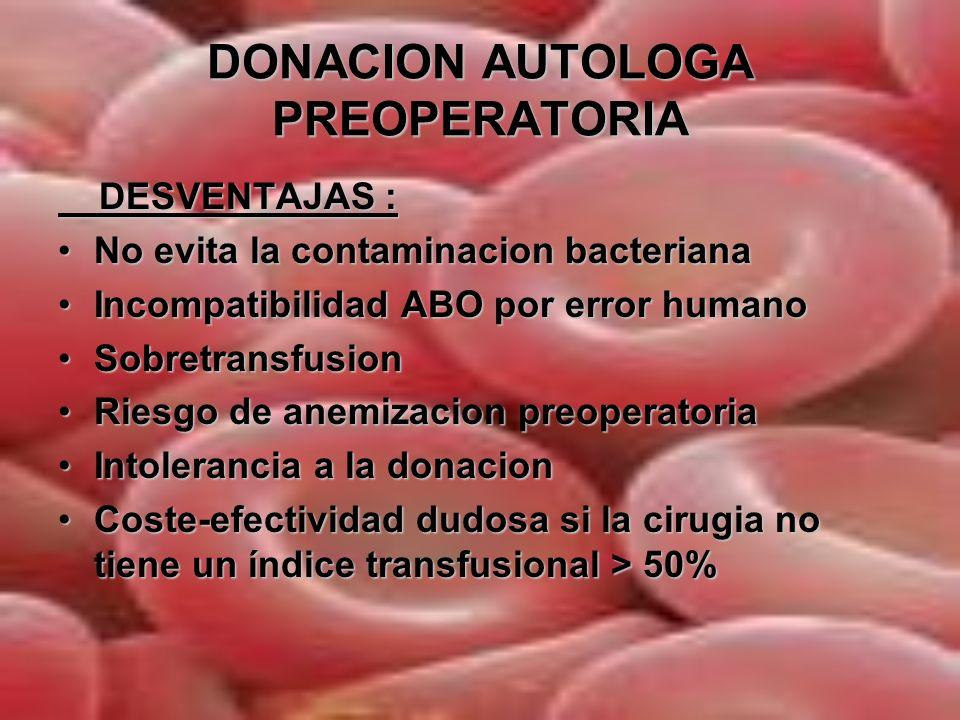 DONACION AUTOLOGA PREOPERATORIA CONTRAINDICACIONES : Hb < 11 g/dlHb < 11 g/dl Serologia positiva HIV, VHC,VHB…Serologia positiva HIV, VHC,VHB… Angina inestableAngina inestable IAM o ACV seis meses previosIAM o ACV seis meses previos Estenosis aortica graveEstenosis aortica grave EpilepsiaEpilepsia HTA grave o incontroladaHTA grave o incontrolada Deficit de Fe, ac folico o vit B12Deficit de Fe, ac folico o vit B12 Insuficiencia respiratoria graveInsuficiencia respiratoria grave Bacteriemia o situacion susceptible de producirlaBacteriemia o situacion susceptible de producirla Procesos infecciosos agudos ( gripe, diarrea…) suponen un aplazamiento de las donaciones hasta su resolucionProcesos infecciosos agudos ( gripe, diarrea…) suponen un aplazamiento de las donaciones hasta su resolucion Dificultad de puncion venosa o criterios logisticosDificultad de puncion venosa o criterios logisticos