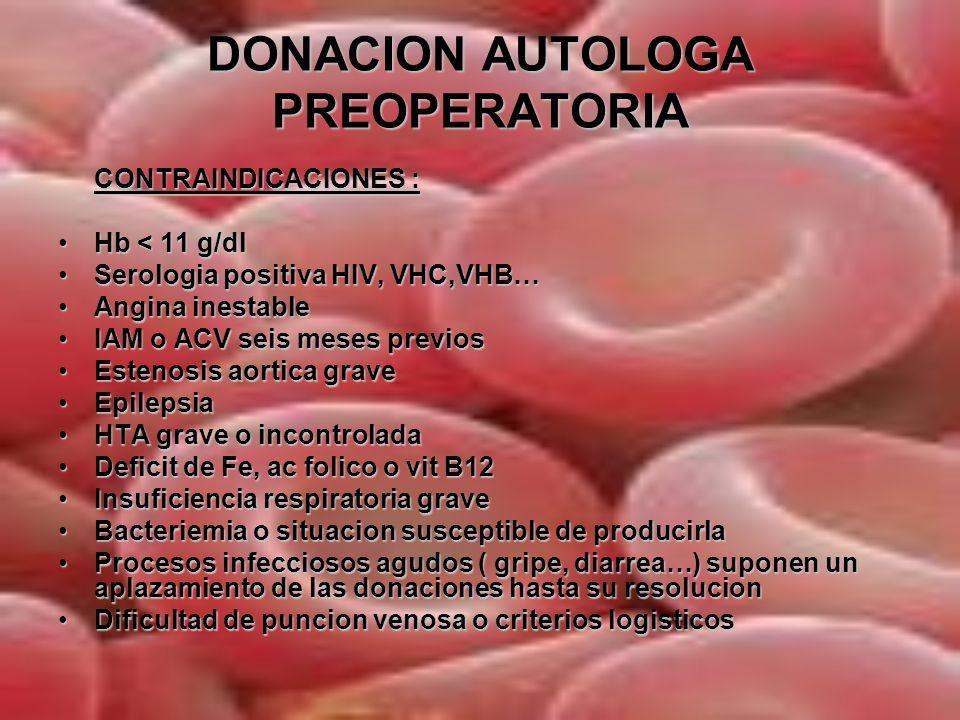 RECUPERACION INTRAOPERATORIA Actualmente la recuperacion intraoperatoria exige siempre el lavado de la sangre, no es suficiente con la filtracion.
