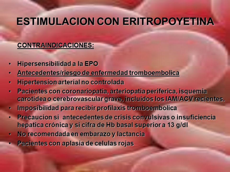 ESTIMULACION CON ERITROPOYETINA Pauta clásica de EPREX® en DAP.