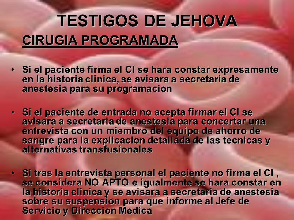 TESTIGOS DE JEHOVA GUIA DE TOMA DE DECISIONES EN C.PROGRAMADA CONSULTA DE PREANESTESIA FIRMA CI APTO PROGRAMACION NO FIRMA CI ENTREVISTAPERSONALIZADA NO APTO SE INFORMA JEFE DE SERVICIO SE INFORMA JEFE DE SERVICIO Y DIRECCION MEDICA.