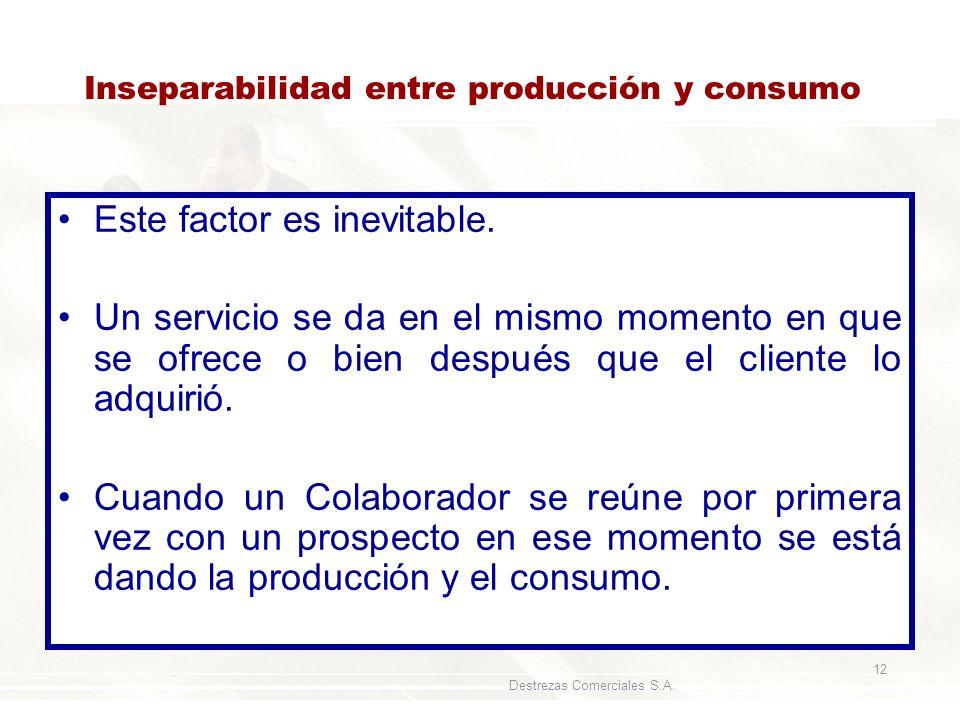 Destrezas Comerciales S.A. 12 Inseparabilidad entre producción y consumo Este factor es inevitable. Un servicio se da en el mismo momento en que se of