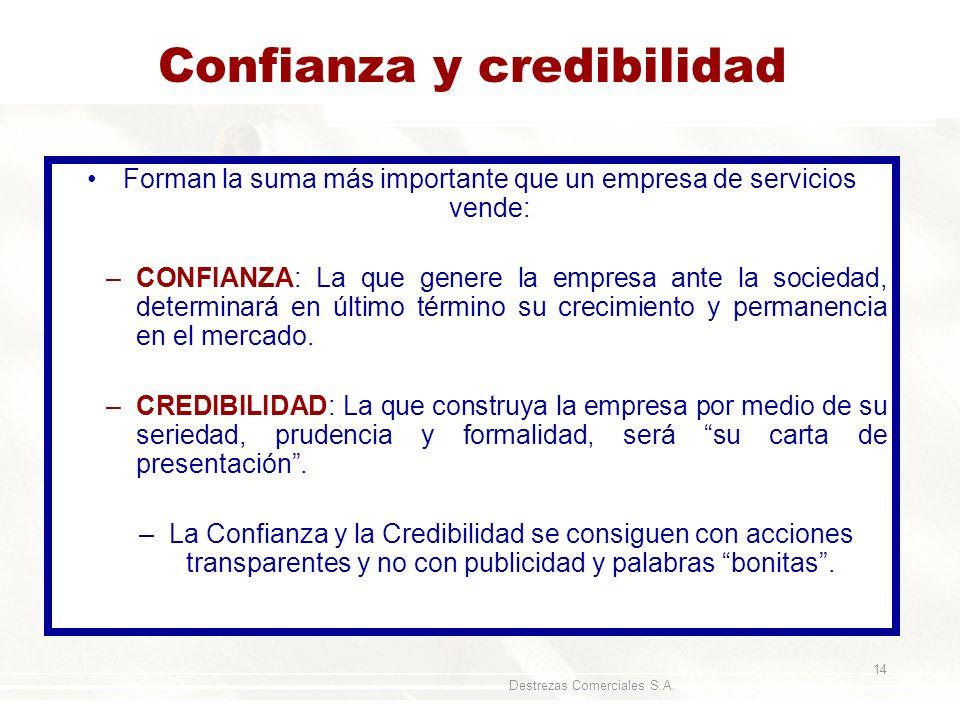 Destrezas Comerciales S.A. 14 Confianza y credibilidad Forman la suma más importante que un empresa de servicios vende: –CONFIANZA: La que genere la e