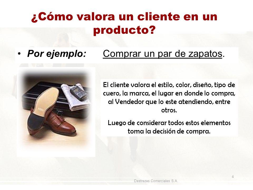 Destrezas Comerciales S.A. 4 ¿Cómo valora un cliente en un producto? Por ejemplo: Comprar un par de zapatos. El cliente valora el estilo, color, diseñ