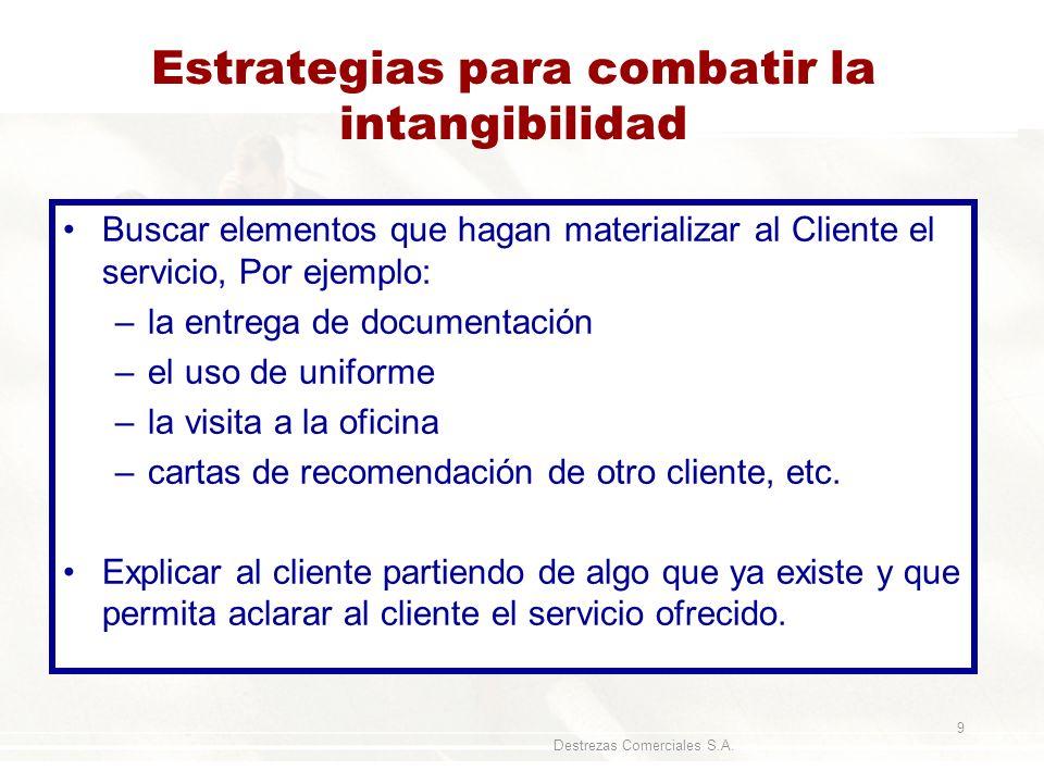 Destrezas Comerciales S.A. 9 Estrategias para combatir la intangibilidad Buscar elementos que hagan materializar al Cliente el servicio, Por ejemplo: