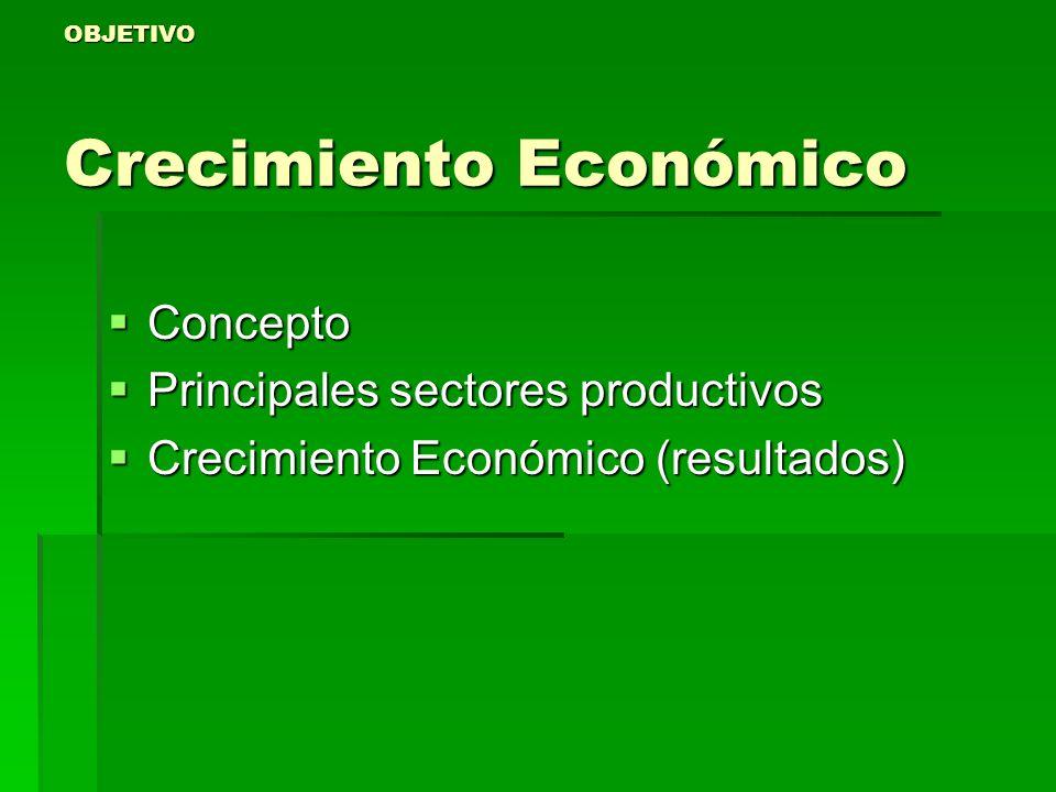 OBJETIVO Crecimiento Económico Concepto Concepto Principales sectores productivos Principales sectores productivos Crecimiento Económico (resultados)