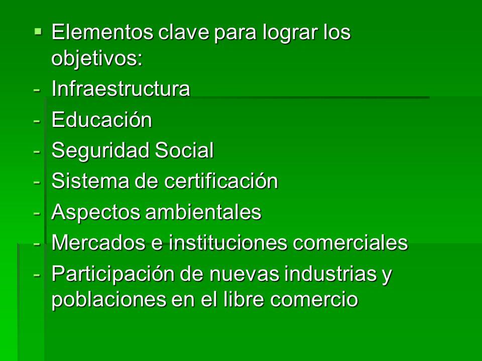 Elementos clave para lograr los objetivos: Elementos clave para lograr los objetivos: -Infraestructura -Educación -Seguridad Social -Sistema de certif