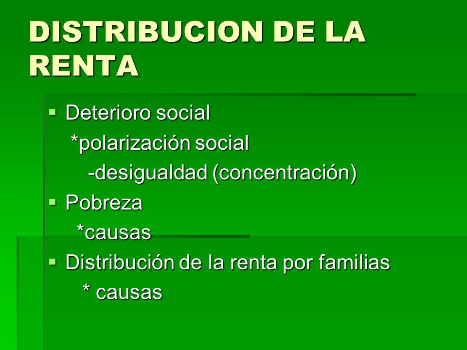 DISTRIBUCION DE LA RENTA Deterioro social Deterioro social *polarización social *polarización social -desigualdad (concentración) -desigualdad (concen