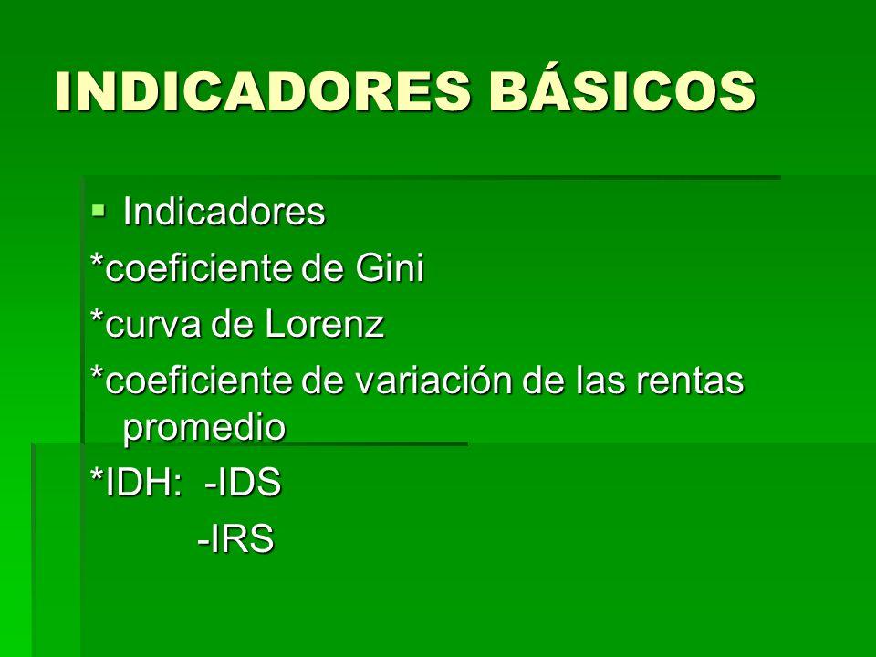 INDICADORES BÁSICOS Indicadores Indicadores *coeficiente de Gini *curva de Lorenz *coeficiente de variación de las rentas promedio *IDH: -IDS -IRS -IR