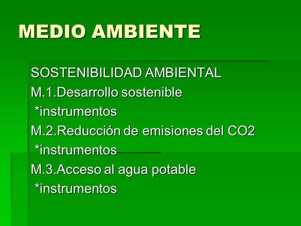 MEDIO AMBIENTE SOSTENIBILIDAD AMBIENTAL M.1.Desarrollo sostenible *instrumentos *instrumentos M.2.Reducción de emisiones del CO2 *instrumentos *instru