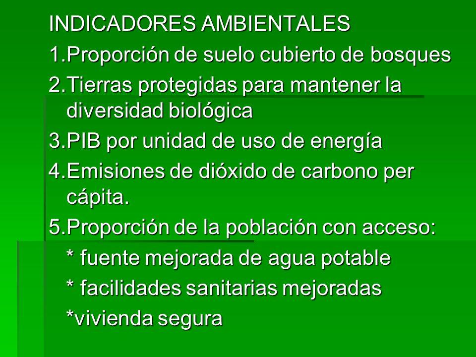 INDICADORES AMBIENTALES 1.Proporción de suelo cubierto de bosques 2.Tierras protegidas para mantener la diversidad biológica 3.PIB por unidad de uso d