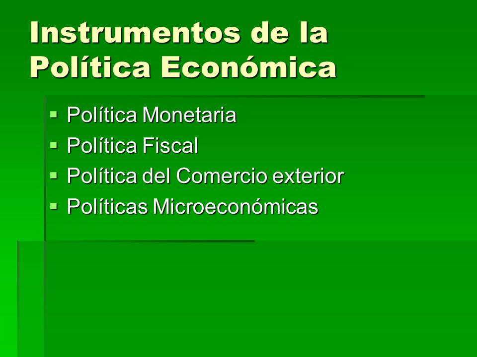 Instrumentos de la Política Económica Política Monetaria Política Monetaria Política Fiscal Política Fiscal Política del Comercio exterior Política de