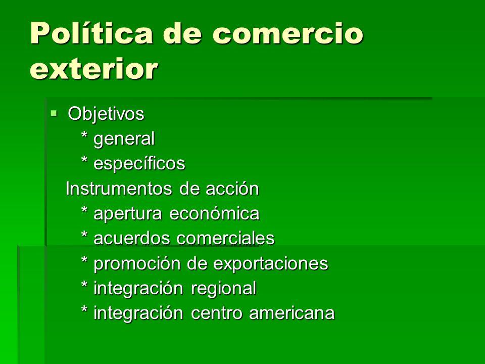 Política de comercio exterior Objetivos Objetivos * general * general * específicos * específicos Instrumentos de acción Instrumentos de acción * aper
