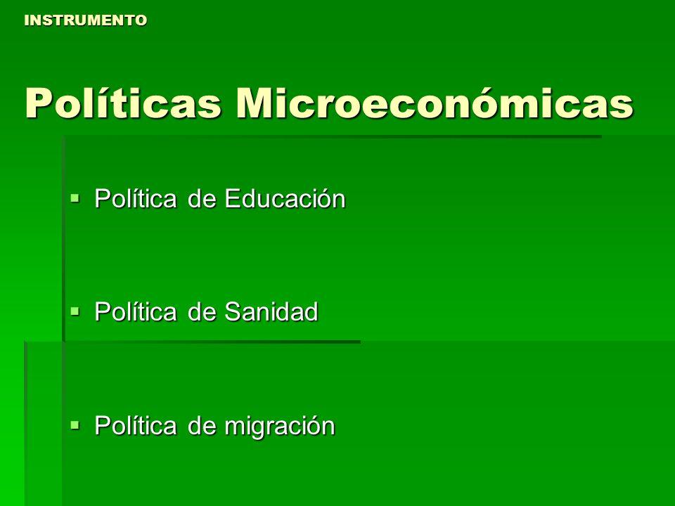 INSTRUMENTO Políticas Microeconómicas Política de Educación Política de Educación Política de Sanidad Política de Sanidad Política de migración Políti