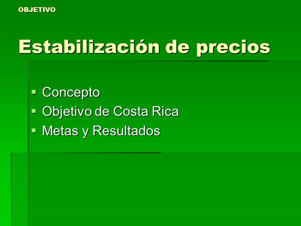 OBJETIVO Estabilización de precios Concepto Concepto Objetivo de Costa Rica Objetivo de Costa Rica Metas y Resultados Metas y Resultados