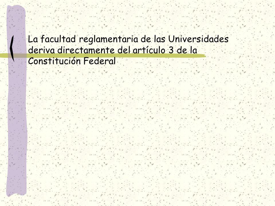 La facultad reglamentaria de las Universidades deriva directamente del artículo 3 de la Constitución Federal