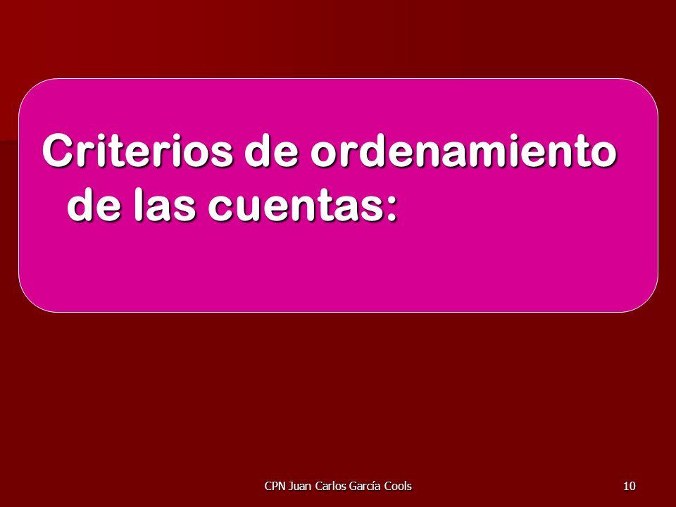 CPN Juan Carlos García Cools10 Criterios de ordenamiento de las cuentas: