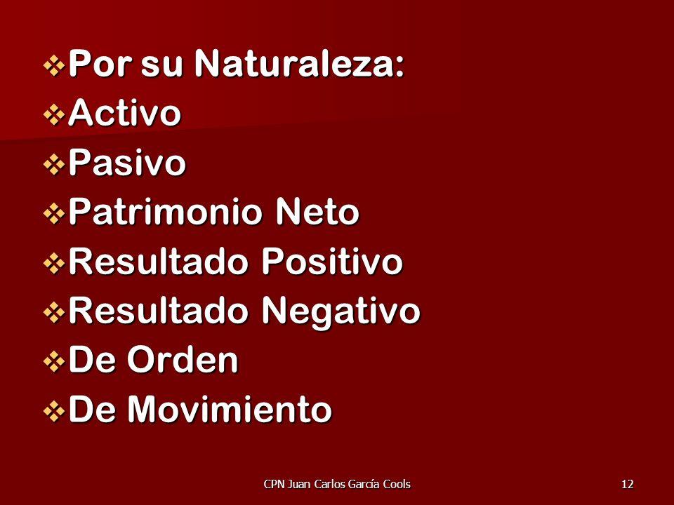 CPN Juan Carlos García Cools12 Por su Naturaleza: Por su Naturaleza: Activo Activo Pasivo Pasivo Patrimonio Neto Patrimonio Neto Resultado Positivo Re