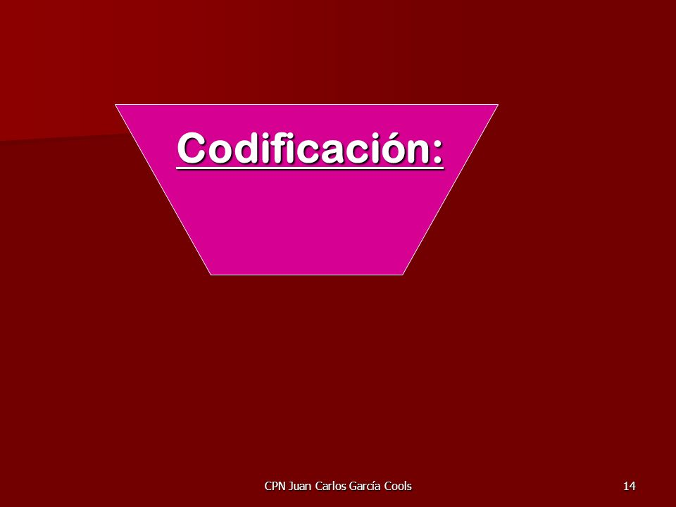 CPN Juan Carlos García Cools14 Codificación: